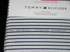 Tommy Hilfiger Blue & White Signature Stripe QUEEN Sheet Set--NWT