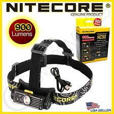 GENUINE Nitecore HC90 Cree XM-L2 T6 LED Headlamp Flashligh 18650-900 Lumens- NEW