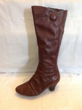Clarks Maroon Knee High Leather Boots Size 5D