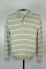 Brooks Brothers Mens Size S Brown White Stripe Knit Sweater Supima Cotton