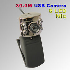 USB 2.0 300K 6LED Webcam Camera With Mic Web Cam for Desktop PC Laptop Notebook