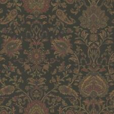 Wallpaper Van Luit Black Brown Red Green Navy Jacobean Floral Faux Tapestry