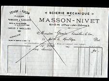 """RIOM (63) SCIERIE / BOIS CHARPENTE PARQUET """"MASSON & NIVET"""" en 1923"""