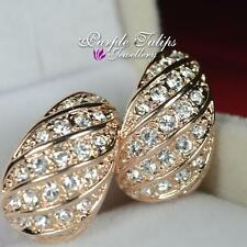 18CT Rose Gold Plated Shell Shape Half Hoop Clip_on Earrings W/Swarovski Crystal