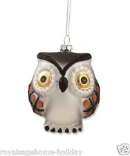 DA4471 Hoot Owl Glass Ornament Halloween Christmas Brown Orange Glitter