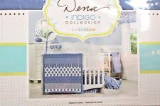 New Dena INDIGO Collection 4pc Crib Bedding Set Geometric Blue White by Kidsline