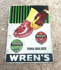 1930's VINTAGE V RARE WREN'S SUPER WAX POLISH ADV LITHO PRINT TIN SIGN BOARD