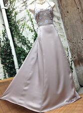 BNWT£199 exquisite MONSOON *Sansa* mink SILK embroidered/embellished maxi dr 16