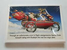 HARLEY DAVIDSON CHRISTMAS CARDS #X481 HARLEY RUDOLPH WITH SANTA IN SIDECAR (10)