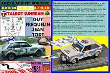 ANEXO DECAL 1/43 TALBOT SUNBEAM LOTUS GUY FREQUELIN TOUR DE CORSE 1981 2nd (02)