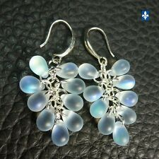 ♥ Iridescent Frosted Clear Czech Glass Droplets Cluster & Plated Silver Earrings