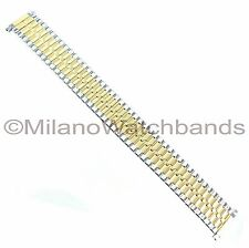 16-22mm Gilden Twist-O-Flex Silver Gold Two Tone Mens Watch Band X-Long 536-TL