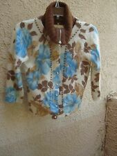 Free People Angora Wool Blend Cropped Floral Cardigan Sweater Size S