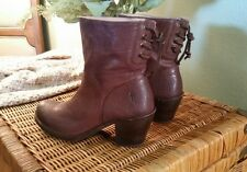 Frye Carmen Lace Up Ankle Boot Bootie Dark Brown Leather WORN ONCE ~ 8