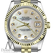 Women`s Rolex 26mm Datejust2Tone White MOP Mother Of Pearl Diamond Dial