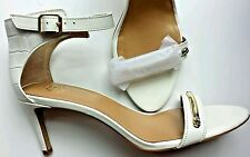 Shoes Ann Taylor 8 Jenna Heel Sandal embossed Leather open White gold wedding