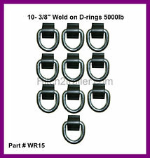 "10 - 3/8"" D Ring 5000# Weld On ATV Motorcycle Rope Tie Trailer Truck - WR15"