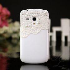 Samsung Galaxy S3 mini i8190 Hard Case Handy Schutz Hülle Etui Perlen Weiß 3D