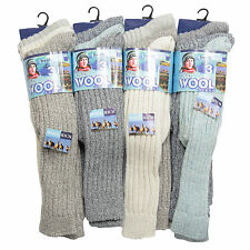L38 LADIES 6prs CHUNKY THERMAL WARMTH WINTER LONG WOOL BOOT WALKING HIKE SOCKS