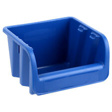 Rubbermaid Small Plastic Storage Box - Office Stationary Stacker -Blue