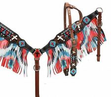 Showman Beaded Single Ear Headstall & Breast Collar Set W/ Multi Colored Fringe!