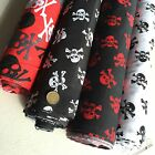 Poplin Polycotton Fabric Dress Black White Red Grey Skulls Pirate Gothic 112 cm
