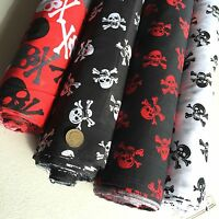 Poplin Polycotton Fabric Dress Black White Red Grey Skulls Pirate Gothic 112 cm