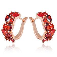 Red Ruby Hoop Drop Dangle Zircon Earrings Women's 10Kt Rose Gold Filled Wedding