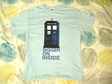 T Shirt Doctor Who Tardis Bigger On The Inside Pale Blue Large