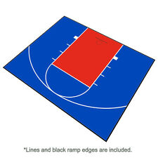 30ft x 25ft Outdoor Basketball Half Court Kit-Lines and Edges Included-Blue/Red