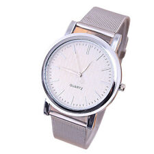 Silver Man's Slim Stainless Steel Mash Strap Analog Quartz Wrist Watch