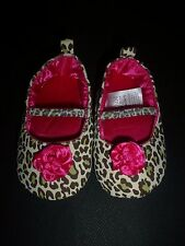 Carter's Baby Girl Animal Leopard Print Mary Jane Crib Flower Shoes 3-6 Months