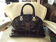 Auth GUCCI Snow Glam Bowler Satchel Quilted Black Patent Leather Handbag Silver