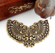 Victorian Winged Cartouche / Plaque Antique Ox Brass Stampings Findings (C-802)