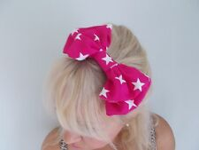 PINK WHITE STARS BIG BOW HAIR CLIP EMO SCENE ROCKABILLY STAR SLIDE BARRETTE