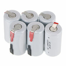 6 X Ni-Cd 1800mAh 1.2V  Sub C SC Rechargeable Battery NiCd Batteries - White