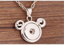 DIY Mickey Alloy Pendant for Fit Noosa Necklace Snap Chunk Button WC036