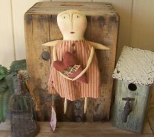 PriMiTiVe FOLK ART VALENTINE ANGEL ART DOLL GRUNGY PILLOW POCKET LOVE NOTES