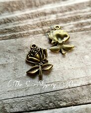 Rose Charms Pendants Antiqued Bronze Alice in Wonderland Pendants Flower Charms