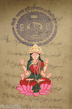 Hindu Goddess Laxmi Painting Handmade Royal Stamp Fine Art Religious Money_AR100