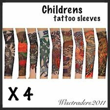4 x CHILDRENS BOYS GIRLS TATTOO SLEEVES FANCY DRESS TATTOO BODY ART PRANK UK NEW