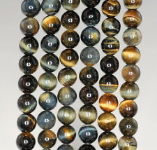 6MM GOLDEN BLUE TIGER EYE GEMSTONE HAWK EYE GRADE AA ROUND LOOSE BEADS 15.5""
