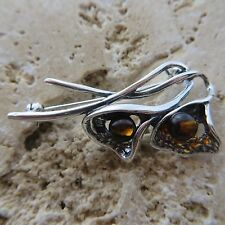 Genuine BALTIC AMBER Brooch 925 STERLING SILVER / Ambre baltique & Argent #0053
