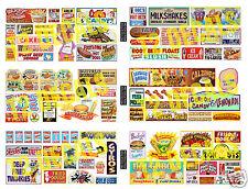 HO Scale Circus Sideshow Carnival Food & Beverage Signage Decals MEGA SHEET