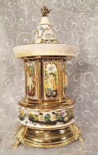 Reuge Capodimonte Music Box Musical Carousel Lipstick Dispenser Mosque Musicbox