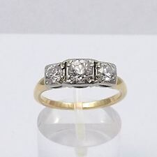 ART DECO 14K GOLD 1ctw EUROPEAN CUT 3 STONE DIAMOND ENGAGEMENT ANNIVERSARY RING