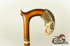 ''The White Eagle'' Superb Hand Carved Wooden Walking Stick - Piece Of Art !!!