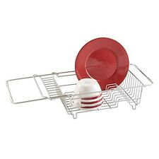 mDesign Kitchen Over-the-Sink Dish Drainer Rack for Drying Glasses, Silverware,