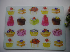 Shabby Chic Cup Cake Glass Chopping Board Kitchen Work Surface Protector