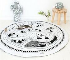 Kids Room Road Trip Round Floor Pad  with Insert 95cm